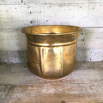 Brass Planter Extra Large Brass Planter Brass Plant Pot Garden Container Hollywood Regency Decor Outdoor Planter Mid Century Planter