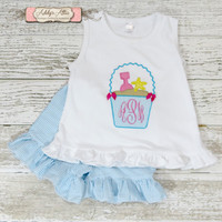 Beach Bucket Outfit, Seersucker Shorts, Applique Outfit, Toddler Girls Outfit, Beach Outfit, Sand Pail Shirt, Monogram Shirt
