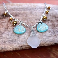 Sea Glass Jewelry from Hawaii, Hawaiian Jewelry for Beach Brides by Mermaid Tears, Ocean Inspired Beach Glass Necklace, Bohemian Jewelry