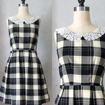 ETIQUETTE Black / Yellow Plaid - Little Black Dress with pockets / round ivory lace collar / pleated skirt / rustic / day / bridesmaid / lbd