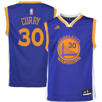 Youth Golden State Warriors Stephen Curry adidas Royal Blue Road Replica Jersey