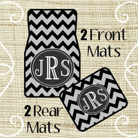 Custom Personalized Set of Car Floor Mats - Front and or Rear Back, Monogrammed Car Mats, Chevron Black Gray