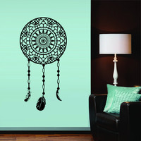 Wall decal art decor decals sticker Dream On Catcher Dreamcatcher Feathers Bedroom protection  Symbol amulet gift (m254)