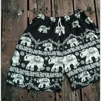 Unisex Men & Women Summer Shorts Elephant Print Boho Beach Hippie Hipster Clothing Aztec Ethnic Bohemian Ikat Boxers Sleepwear Baggy