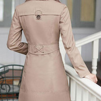 Long Sleeve Tie Collar Trench Coat