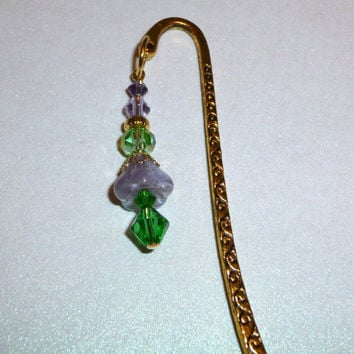 Gold Scroll Bookmark with Purple & Green Glass Beads. Flower Beads. Filigree Beads. Metal Bookmark. Bookmark. Bead Bookmark. Books