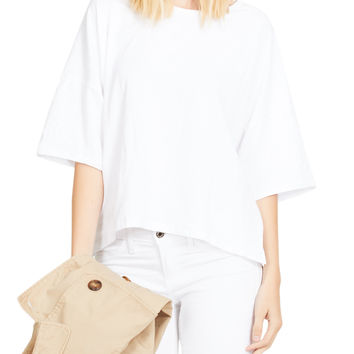 LE3NO Womens Oversized Short Sleeve Casual Draped Top