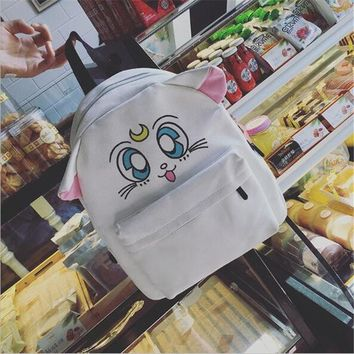 Anime Backpack School kawaii cute Sailor Moon Luna Cat Cosplay Costume Props Bag Cartoon Printing Backpack lovely student canvas school bag laptop bag AT_60_4