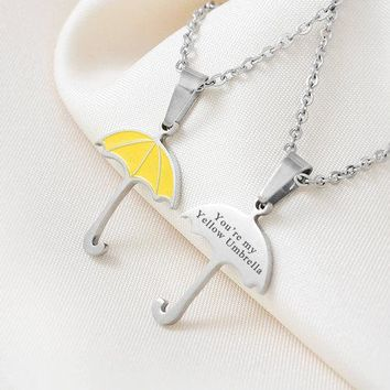 """How I Met Your Mother Yellow Umbrella Pendant""""You're my Yellow Umbrella"""" True Love Necklace Geekery Jewelry for Mother 2 Sides"""
