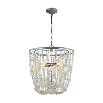 15936/5 Alexandra 5 Light Chandelier In Weathered Zinc With Capiz Shells And Clear Crystal