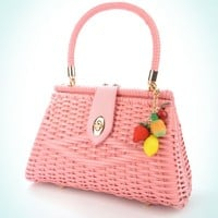 Wicker Purse in Warm Summer Pink with Fruit Charm | Pinup Girl Clothing