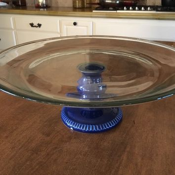 """Anchor Hocking Cobalt Blue Pedestal with Clear Cake Plate Large 13"""" Wide - EUC"""
