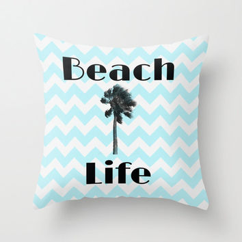 Beach Life Blue Chevron Pillow COVER California Los Angeles Palm Trees Bedding Decor