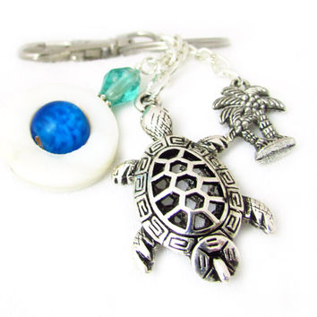 Sea Turtle Keychain, Shell and Turtle Keyring, Beach Theme Keychain, Beach Car Accessory, Beach Inspired Keychain, Turtle Lover Gift