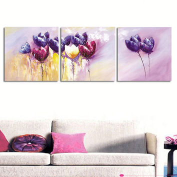 3 Pcs/set Abstract Purple Flower Wall Art Painting Prints on Canvas Flower Painting Canvas Wall Picture for BedRoom Unframed