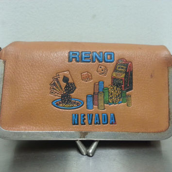Vintage 70's Reno Nevada Coin Purse Painted Clutch Brown Faux Leather  Gambling Bridge Bag