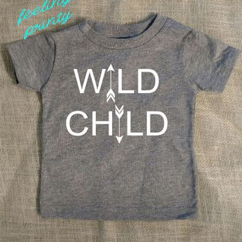 SALE Grey Infant Toddler WILD CHILD shirt hippie gypsy shirt born to be free shirt
