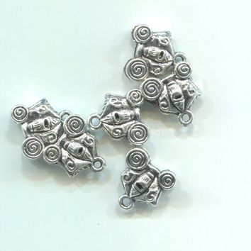 6 silver halloween charms skull charms carriage charms 10 mm metal halloween pendants lot halloween charms collection jewelry making