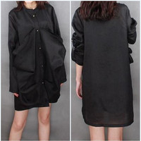 Linen single breasted dress/  Stand-up collar Leisure shirt Dress