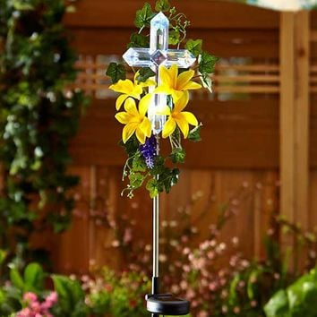 Solar Lily Cross Garden Stake Memorial LED Illuminated Cross White Yellow Flower