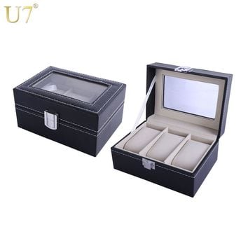 U7 Men Watch Holder Bracelets Jewelry Organizer Box Case Black High Quality PU Leather with A Glass Top Groom Gift For Him OB04