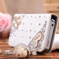 niceEshop 3D Rhinestone PU Leather Flip Wallet Case Skin Bag Protector For iPhone 5S Loving Heart Style Case