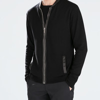 JACKET WITH FAUX LEATHER DETAILS