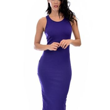 Lyss Loo Hourglass Bodycon Purple Midi Dress