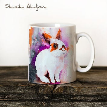 Rabbit 2 Mug Watercolor Ceramic Mug Unique Gift Coffee Mug Animal Mug Tea Cup Art Illustration Cool Kitchen Art Printed mug