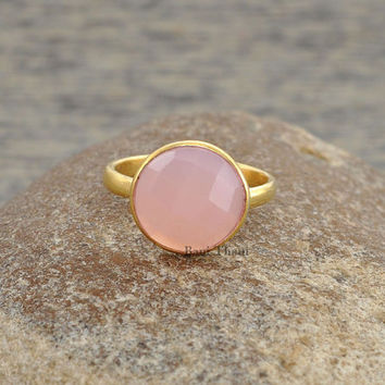 Pink Chalcedony Beautiful Round 10mm Faceted Micron Gold Plated 925 Sterling Silver Ring - #1020