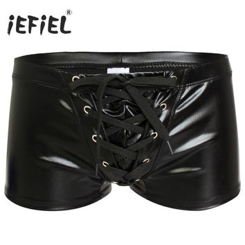 2017 Sexy Men Patent Leather Gay Pants Latex Men's Swimwear Boxers Shorts Drawstring Trunk Wetlook Swimsuit Lingerie Underwear