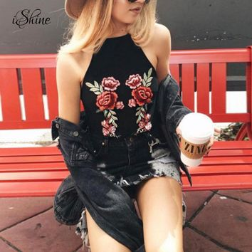 Women Sexy Halter Strap Vest Short Tanks Floral Embroidery Rose Camisole 2017 Femme Strappy Camis Tanks Black Crop Tops Beach