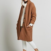 Free People Womens Solid Cocoon Wool Coat