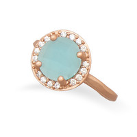 14 Karat Rose Gold Plated Blue Glass Ring