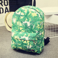 Green Palm Tree Printed Canvas Backpack