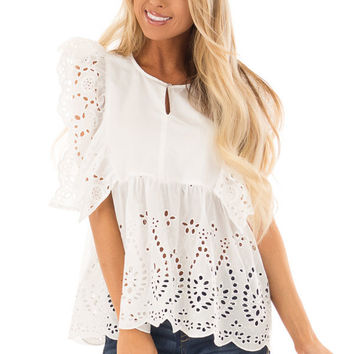 White Short Sleeve Top with Ruffle Eyelet Detail