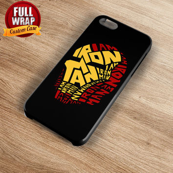 Iron Man Head Words Art Full Wrap Phone Case For iPhone, iPod, Samsung, Sony, HTC, Nexus, LG, and Blackberry