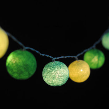 20 x green lemon natural mix cotton ball string light wedding party display light decor room indoor lantern