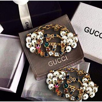 Gucci Popular Women Retro Diamond Exaggerated Pearl Bracelet Hand Catenary I/A