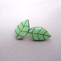 Leaf stud wood earrings / green leaves laser cut post earrings