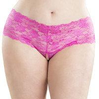 Plus Size Crotchless Lace Boyshort