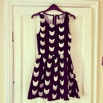 CUTE BOW CAT PRINT FRESH DRESS