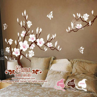 white cherry blossom Vinyl wall decals tree office wedding wall murals Nursery wall sticker - Huge Magnolia Z180 cuma