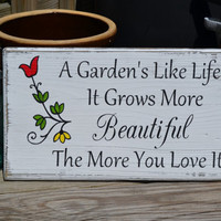 Mother's Day, Garden Decor, Home Outdoor Decor, Yard Decor, Porch Decor, Home Sign, Reclaimed Beach Wood Hand Painted Sign