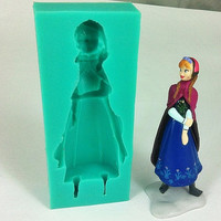 Frozen Village Girl Silicone Mold Ice Fondant Cake
