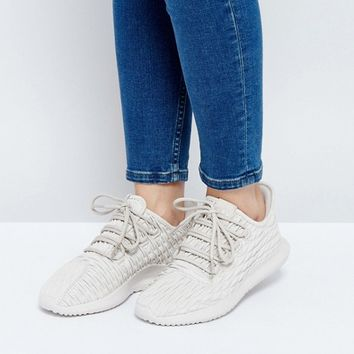adidas Originals Beige Tubular Shadow Leather Trainers at asos.com
