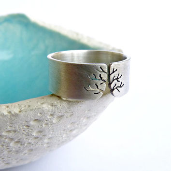 Autumn tree ring, Sterling silver ring, sanded wide band ring, metalwork jewelry