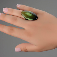 Oval ring made of cow horn