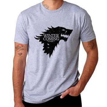 Game Of Thrones Print Winter Is Coming Stark Blood Wolf Men T-Shirt