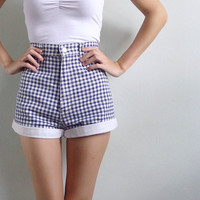 Vintage 80's Picnic Plaid Gingham High Waisted Shorts S or M
